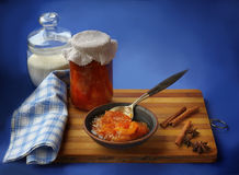 Jar of homemade jam from a quince Stock Image