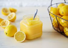 Jar of homemade lemon curd Royalty Free Stock Images