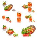 Jar of homemade plum compote Stock Image