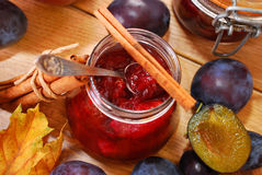 Jar of homemade  plum jam with cinnamon Royalty Free Stock Image