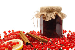Jar of homemade red currant jam with fresh fruits. Isolated royalty free stock images