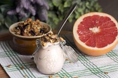 Jar with homemade yogurt. Granola from several types of cereals with nuts, coconut shavings and dried cranberries. and grapefruit stock photos