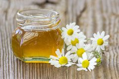 Jar of honey and chamomile flowers stock images