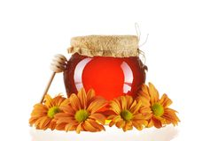 Jar of honey and dipper Royalty Free Stock Images