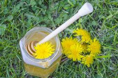 Jar of honey, dipper, lemon and yellow flowers in the grass Stock Photo