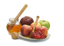 Jar with honey and fruits isolated Stock Photography
