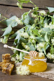 Jar with honey, honeycomb with pollen and linden flowers Royalty Free Stock Photos
