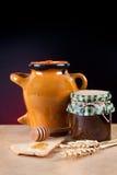Jar of honey and jam Stock Photo