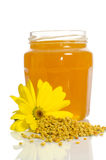 The jar of honey near a pile of pollen and flower Stock Photos