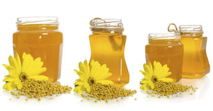 The jar of honey near pollen pile and flower Royalty Free Stock Photos