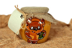 Jar of honey. With a note card attached Royalty Free Stock Photography