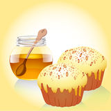 Of a jar of honey, and two of the cake with nuts Stock Photo