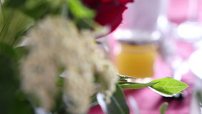 Jar with honey on a wedding decorated table stock footage