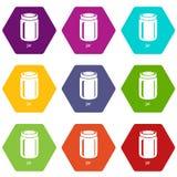 Jar icons set 9 vector vector illustration