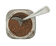 Jar of instant coffee granules, isolated Royalty Free Stock Photos