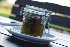 Jar of jalapeno preserves Royalty Free Stock Photo