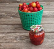 Jar of jam and a basket with red  plums Royalty Free Stock Images
