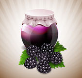 Jar of jam with blackberry and leaves Stock Images