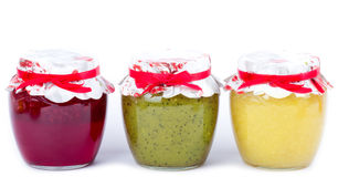 Jar with jam  (cherry,kiwi, lemon) Royalty Free Stock Images