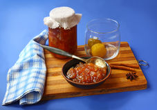 Jar of jam and quinces Royalty Free Stock Image