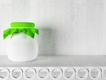 A jar with the jam on the shelf Royalty Free Stock Photography