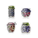 Jar with jam, sketch for your design Royalty Free Stock Images