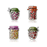 Jar with jam, sketch for your design Royalty Free Stock Image