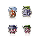Jar with jam, sketch for your design Stock Image