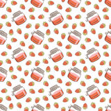 Jar of jam and strawberries pattern Stock Images