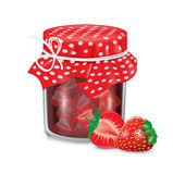 Jar of jam with strawberry fruit isolated Royalty Free Stock Photos