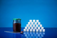 Jar of jam and sugar Stock Photography