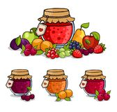 Jar of jam surrounded by fruits and berries. Apple, pear, cherry, strawberry and gooseberry. Vector illustration stock illustration