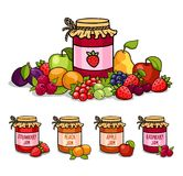 Jar of jam surrounded by fruits and berries. vector illustration