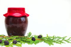 Jar with jam on white background Royalty Free Stock Photography
