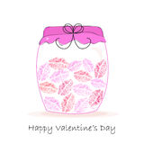 Jar of kiss, Happy Valentine's day greeting card vector background Royalty Free Stock Photography