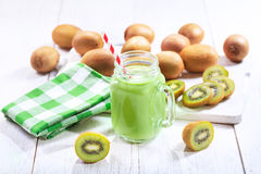 Jar of kiwi smoothie Stock Image