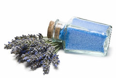 Jar with lavender bath salts. Stock Photography