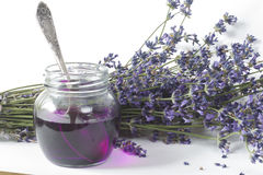 Jar of lavender syrup Stock Images