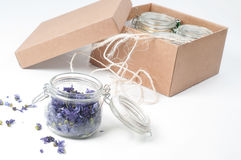 Jar of lavender on white Stock Photo