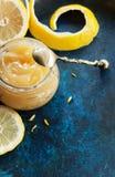 Jar lemon curd Stock Photos