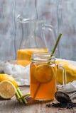 Jar of lemon ice tea Royalty Free Stock Images