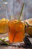 Jar of lemon ice tea Stock Images