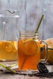 Jar of lemon ice tea Stock Image