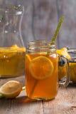 Jar of lemon ice tea Stock Photos