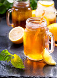 Jar of lemon ice tea Stock Image