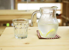 Jar of lemonade with glass for summer Stock Photos
