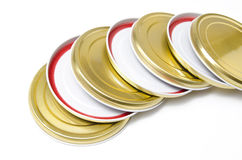 Jar lids. Lids of jars arranged one above the other Royalty Free Stock Photography