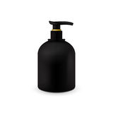 Jar with liquid soap for your logo and design is easy to change colors. Realistic black cosmetic container for soap Stock Image