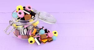 Jar Of Liquorice Allsorts Candy Royalty Free Stock Images
