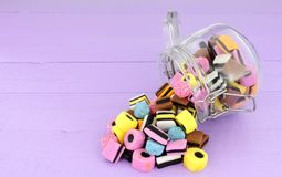 Jar Of Liquorice Allsorts Candy Royalty Free Stock Photo